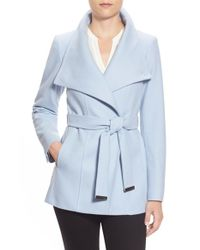 Ted Baker | Blue 'paria' Short Wool Blend Wrap Coat | Lyst