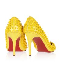 Christian Louboutin Yellow Pigalle Spikes 85 Patentleather Pumps