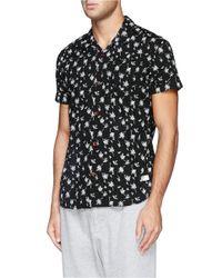 Scotch & Soda Black Hawaiian Tree Print Cotton Shirt for men