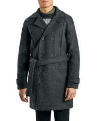 TOPMAN - Gray Charcoal Wool Blend Trench Coat for Men - Lyst