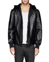Neil Barrett - Black Neoprene Hood And Placket Bomber Jacket for Men - Lyst