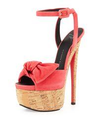 Giuseppe Zanotti   Pink Denny Suede High-Heel Sandal W/ Bow   Lyst