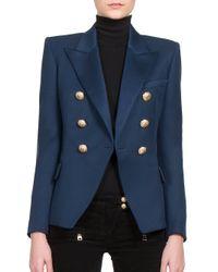 Balmain Blue Double-Breasted Cotton-Piqué Jacket