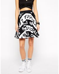 Adidas - White Orginals Skater Skirt With All Over Typo Print - Lyst