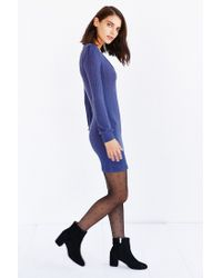 Kimchi Blue Blue Lilac Blouson Sweaterknit Mini Dress