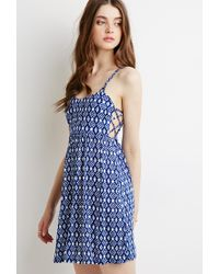 Forever 21 - Blue Abstract Print Babydoll Dress - Lyst