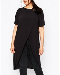 ASOS | Black Maxi Wrap Over T-shirt | Lyst