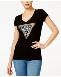 Guess Black Snake Logo V-neck T-shirt