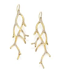Ippolita Metallic Stardust Diamond & 18k Yellow Gold Branch Drop Earrings