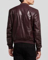 BLK DNM Red Leather Bomber Jacket for men