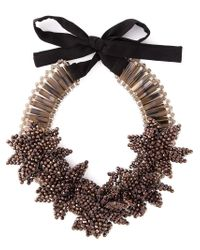 Night Market | Brown 'deep Flower' Bib Necklace | Lyst