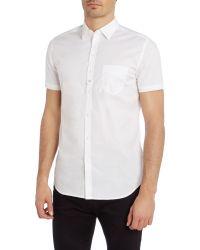 DIESEL - White Short Sleeve Poplin Shirt for Men - Lyst