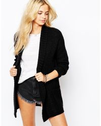 Fashion Union - Black Slouchy Rib Boyfriend Cardigan - Lyst