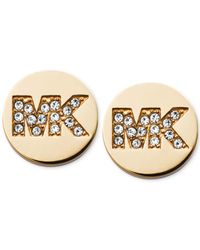 Michael Kors | Metallic Pavé Crystal Mk Logo Disc Stud Earrings | Lyst