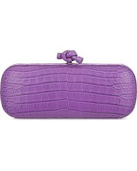 Bottega Veneta | Purple Stretch Knot Crocodile Clutch | Lyst