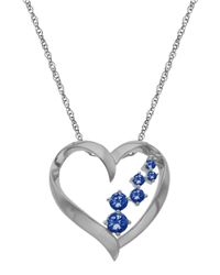 Lord & Taylor | Blue 14kt. White Gold And Sapphire Heart Pendant Necklace | Lyst