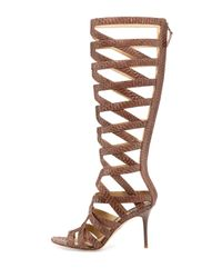 B Brian Atwood - Brown Ethanna Snakeskin Cage Boot - Lyst