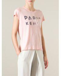 KENZO   Pink 'paris ' T-shirt   Lyst