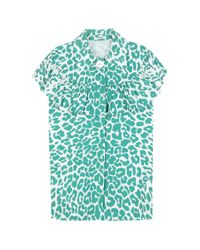Miu Miu - Green Leopard-print Cotton Blouse - Lyst