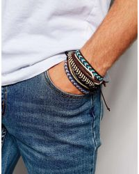 ASOS | Multicolor Leather Bracelet Pack In Brown And Blue for Men | Lyst