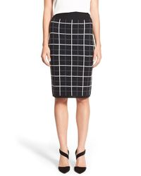 Halogen | Black Windowpane Check Knit Pencil Skirt | Lyst
