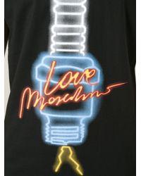 Love Moschino Black Neon Lamp Print T-Shirt for men