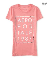 Aéropostale | Pink Aéropostale 1987 Stacked Graphic T | Lyst