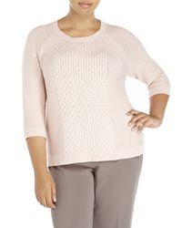 BB Dakota - Pink Plus Size Cable Sweater - Lyst