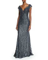 Jovani Metallic Embellished Lace Mermaid Gown