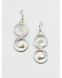 Gurhan - Metallic Sterling Silver & 24K Yellow Gold Vortex Drop Earrings - Lyst