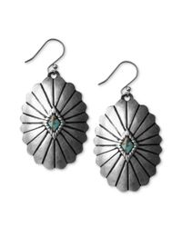 Lucky Brand - Metallic Silvertone Reconstituted Turquoise Disk Earrings - Lyst