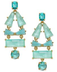kate spade new york | Blue 14k Gold-plated Aqua Stone Drop Earrings | Lyst