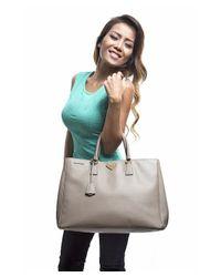 Prada - Gray Preowned Grey Saffiano Lux Tote Bag - Lyst