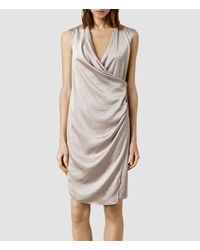 AllSaints | Gray Arina Dress | Lyst