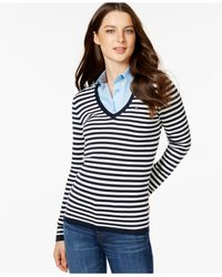 Tommy Hilfiger | Blue Deep-v Striped Sweater | Lyst