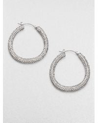 ABS By Allen Schwartz | Metallic Pavé Hoop Earrings/1.25 | Lyst