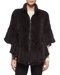Belle Fare | Gray Chevron Mink-Fur Cape | Lyst