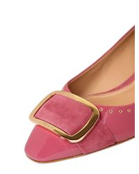 Ferragamo | Pink 30mm Luela Patent Leather & Suede Pumps | Lyst