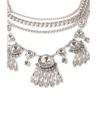 Forever 21 | Metallic Layered Rhinestone Statement Necklace | Lyst
