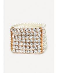 Bebe - Metallic Crystal & Bead Bracelet - Lyst