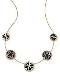 Ippolita Metallic 18K Gold Polished Rock Candy Cutout Stone 5-Station Necklace In Phantom
