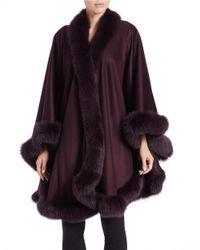 Sofia Cashmere | Purple Cashmere & Fox Fur Cape | Lyst