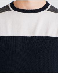 Zara | Blue Structured Jersey Top for Men | Lyst
