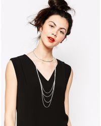 Monki Metallic Agnes Multirow Choker Necklace
