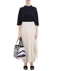Helmut Lang - Natural Pleated Skirt - Lyst