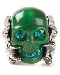 Alexander McQueen | Green Claw Skull Cocktail Ring | Lyst