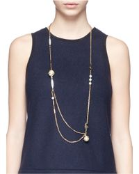 Lulu Frost - Metallic 'oleander' Caged Glass Pearl Rope Necklace - Lyst