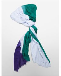 Calvin Klein - Green White Label Multi Color Fringed Scarf - Lyst