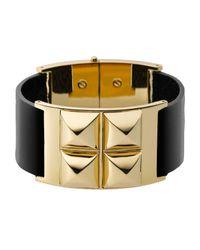 Michael Kors Black Leather Pyramid Bracelet Golden