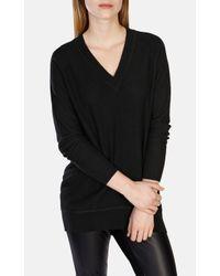 Karen Millen Black Oversized V-neck Tunic